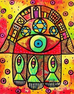 Turquoise Fish Hamsa by Sandra Silberzweig Sandra Silberzweig, Original Artwork, Original Paintings, Steam Punk Jewelry, Drawn Thread, Hand Of Fatima, Egyptian Art, Elements Of Art, Star Of David