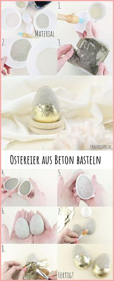 Concrete Easter eggs - make modern Easter decorations yourself - Easter decoration garden . Easter Gift, Easter Crafts, Happy Easter, Easter Baskets To Make, Coloring Easter Eggs, Pin Collection, Blog, Gifts, Beton Diy