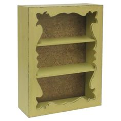 Add an artful touch to your foyer or master suite with this rustic wood shelf, showcasing an ornate cutout and yellow finish. Product: Wall shelfConstruction Material: WoodColor: YellowFeatures: Three shelvesDimensions: H x W Built In Shelves, Wood Shelves, Build Shelves, Wall Shelving, Wood Crafts, Diy Crafts, Kings Home, Distressed Walls, Scrapbooking