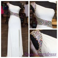 Pretty long prom dress with slit, ball gown, beaded white chiffon modest prom dress for tens #coniefox #2016prom