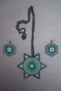 Hama Bead Star Necklace and Earrings