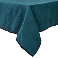 Nappe carré 170x170cm en lin épais piqûre à cheval bleu de Prusse Harmony