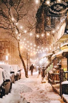 Snowing with lights.. Such a cozy night.
