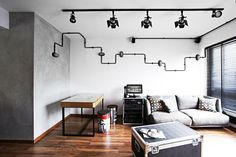living room, industrial, black wiring, black piping, hdb flat, renovation, sengkang, four room