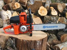 Vintage Husqvarna chainsaw - ready to cut.