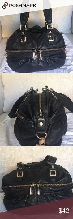 BCBG leather satchel Black leather BCBG satchel handbag with gold hardware and black/grey interior.  This bag had been used, it's soft and broken in but in great condition. Comes with white storage pouch!! BCBG Bags Satchels