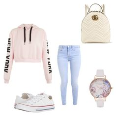 """Untitled #4"" by giselle-munozz ❤ liked on Polyvore featuring Converse, Olivia Burton and Gucci"