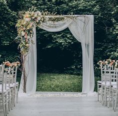 Outdoor Wedding Ceremonies Really pretty style of drapery and basic wedding arch shape. The flower arrangment is a little much. Wedding Arbors, Wedding Ceremony Arch, Wedding Ceremonies, Wedding Trellis, Floral Wedding, Rustic Wedding, Wedding Flowers, Wedding Night, Dream Wedding