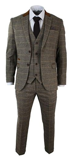Mens Tweed Check Vintage 3 Piece Suit Complete With Blazer, Trouser & Waistcoat Textured Tweed Material with Velvet Trim & Elbow Patch, Fitted Design Groom Suit Tweed, Brown Tweed Suit, Mens Tweed Suit, Tweed Waistcoat, Tweed Suits, Mens Suits, Vintage Wedding Suits, Tweed Wedding Suits, Wedding Men