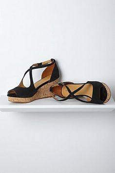 Crisscrossed Cork Wedges, Black | Anthropologie.eu