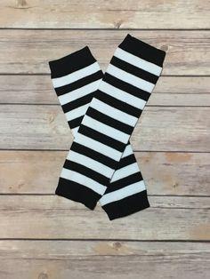 Black and White Striped Leg Warmers  Striped Leg by KraftsbyKuties