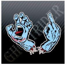 Santa Cruz Screaming Hand Skateboards Middle Finger Sticker Decal Set