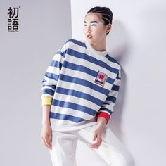 Toyouth Autumn New T-Shirts Women Striped Long Sleeve O-Neck Loose Cotton Tees Lady Fashion Tops