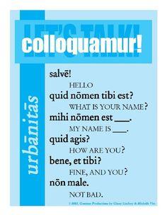 colloquamur!: ¡hablemos! salve!: ¡hola! quid nomen tibi est?: ¿cómo te llamas? mihi nomen est _.: me llamo _. quid agis?: ¿cómo estás? bene, et tibi?: bien, ¿y tú? non male: bien.