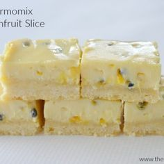 I've been making this Passionfruit Slice for years, so it only seemed right to try making it in my Thermomix and I certainly wasn't disappointed! This Thermomix Passionfruit Slice recipe is so easy to make Passionfruit Slice, Passionfruit Recipes, Delicious Desserts, Dessert Recipes, Yummy Food, Diabetic Desserts, Healthy Desserts, Healthy Recipes, Bellini Recipe