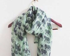 Mint Green Elephant Scarf Mint Scarf with Grey Elephant