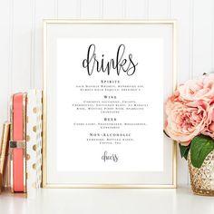 Wedding bar menu sign Printable wedding menu Wedding template Wedding drink menu template Menu board Bar signs for wedding Bar decorations by ViolaMirabilisPrints on Etsy