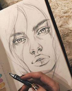 Art Drawings Sketches Simple, Pencil Art Drawings, Realistic Drawings, Doodle Drawings, Easy Drawings, Hipster Drawings, Sketch Art, Drawing With Pencil, Drawings Of Faces