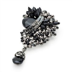 vintage style black crystal ladies womens fashion dress brooch | 14581 | £16.50