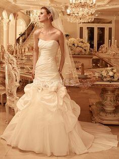 Elegant Fit N Flare Taffeta Scoop Asymmetric Waist Cathedral Train Wedding Gowns