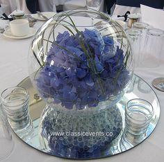 Classic Events at Tyrrells Wood Golf Club, Surrey, Hydrangea Wedding Fishbowl Centrepiece