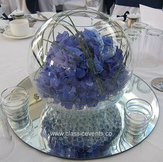 Classic Events at Tyrrells Wood Golf Club, Surrey, Hydrangea Wedding Fishbowl Centrepiece