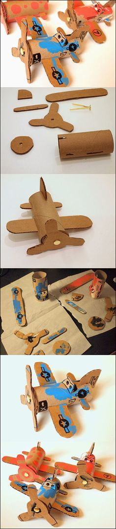 Wonderful DIY Toilet Roll Airplanes is part of Cardboard crafts Airplane - Toilet roll airplanes idea ! Most of children love cars, planes, trucks, trains erm basically anything that moves You can try to foster his love Kids Crafts, Toddler Crafts, Crafts To Do, Toddler Activities, Projects For Kids, Diy For Kids, Arts And Crafts, Toilet Paper Roll Crafts, Cardboard Crafts