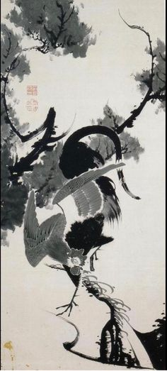 Itō Jakuchu. Rooster. Japanese hanging scroll. Eighteenth c.