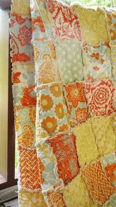 Queen Size Quilt, Rag, Heirloom in Citrine, ALL NATURAL, fresh modern handmade bedding-Quilts Bed Queen bedding patchwork blanket bedroom decor shabby natural eco friendly rag quilt queen size quilts queen quilt shabby heirloom in citrine orange yellow handmade made in america
