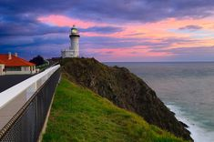 Storm Clouds above Cape Byron Lighthouse at Sunrise, Byron Bay, New South Wales (NSW), Australia