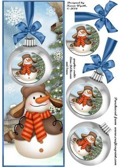 Cheerful Snowman Bauble Dl on Craftsuprint designed by Karen Wyeth - A charming, cheerful snowman DL topper with additional bauble and bow layers. xk - Now available for download!