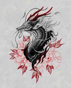 Japan Tattoo Design, Japanese Tattoo Designs, Japanese Tattoo Art, Tattoo Design Drawings, Tattoo Sketches, Dragon Tattoo For Women, Dragon Tattoo Designs, Tattoos For Women, Dragon Tattoo Drawing