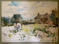 Cows in the Cotswolds.Watercolor.By Charles Reid