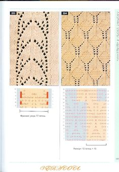 """Photo from album """"Узоры спицами on Yandex. Lace Knitting Stitches, Knitting Paterns, Knitting Books, Knitting Charts, Knit Patterns, Stitch Patterns, Pearl Flower, Lace Design, Knitted Blankets"""