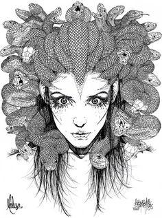 Gorgona+Medusa+:+Dicese+de+la+mujer+más+bella,+jamás+vista+en+la+tierra, La+única+mortal+de+las+tres+hermanas+gorgonas, Y+la+única+capaz+de+hacerle+sombra+a+la+mas+bella, Causa+de+que+la+misma+Afrodita+la+mirase+recelosa, Halló+su+perdida+por+la+envidia+de+los+Dioses+del+Olimpo, Poseidón+busco+poseerla+y+rompió+su+pureza+a+la+fuerza, Atenea+encolerizada+halló+en+ella+la+forma+de+saciar+su+odio, Y+por+su+rivalidad+con+Poseid&oacut...