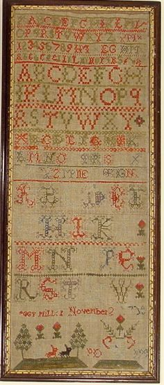 peggy miller sampler 1769 - I love red and green samplers!