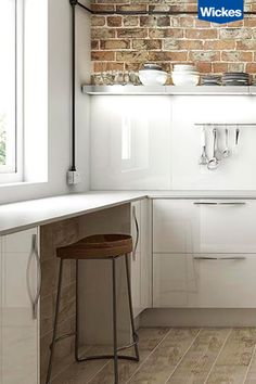 For a bright space that oozes sophistication, choose high gloss acrylics and chrome handles – the perfect combination to help natural light bounce around the room, making small kitchens feel lighter, and bigger. Accompany with chrome accessories, exposed brick and piping for a modern, yet homely feel. Find your dream kitchen at Wickes.