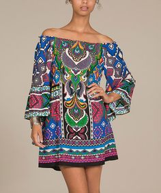Another great find on #zulily! Teal & Green Abstract Off-Shoulder Dress by Flying Tomato #zulilyfinds