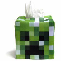 Minecraft inspired Creeper Cube Tissue Box Cover
