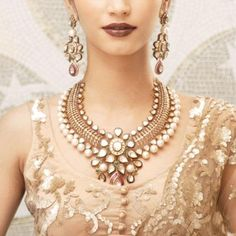 bridal jewellery. Kundan necklace and earrings.