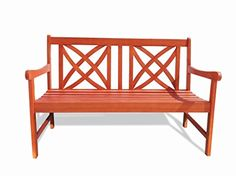 Vifah V1493 Outdoor Wood Garden Bench, 4-Feet - Check this out at... http://outdoorlivingandpatioessentials.com/outdoor-benches/vifah-v1493-outdoor-wood-garden-bench-4-feet/