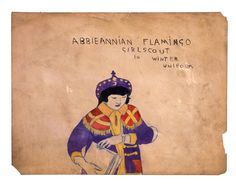 "Henry Darger ""Abbieannian flamingo girlscout in winter uniform"" [Site has excerpts from his journals, and some biography]"