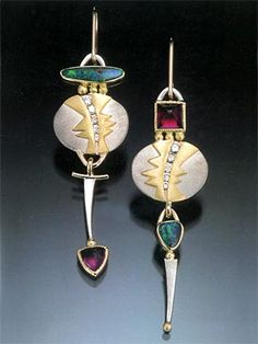 TAMI DEAN - earrings: Opal, diamonds, tourmaline(?) silver, gold Boucles d' oreilles: opale, diamants, tourmaline rose(?)