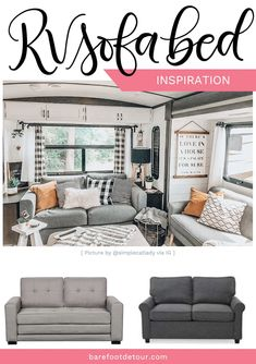 Looking to replace or upgrade your RV sofa bed? Check out this list of ideas wit. - Looking to replace or upgrade your RV sofa bed? Check out this list of ideas with pictures and link - Diy Sofa, Rv Sofa Bed, Diy Camper, Camper Life, Rv Life, Camper Ideas, Rv Campers, Teardrop Campers, Teardrop Trailer