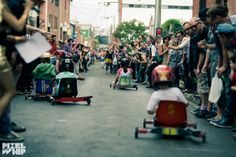 """After nine successful years the annual Melbourne Cup billy cart derby was cancelled this year. Described as """"the Race that stops a street"""", the event had no promotion, no publicity, no permit and, perhaps frighteningly - given the combination of alcohol, fast billy carts and ballooning crowd numbers - no insurance."""