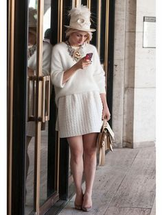 Alina Tanasa in soft & fluffy white & cream #NYFW Street Style | Spring 2014 Fashion Week #Spring2014