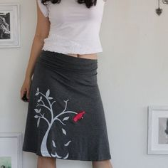 by ZoeChen   Grey Knee Length Skirt . Handmade A-line skirt . The bird and the falling leaves