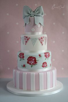 Cath Kidston cake by Cotton and Crumbs. Gorgeous Cakes, Pretty Cakes, Amazing Cakes, Cupcakes, Cupcake Cakes, Cath Kidston Cake, Cotton And Crumbs, Shabby Chic Cakes, Beaux Desserts