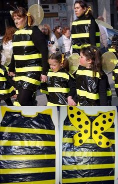 Bee costume with garbage bags Carnival Crafts, Carnival Masks, Carnival Costumes, Diy Costumes, Halloween Costumes, Fancy Dress, Dress Up, Bug Costume, Masquerade Costumes