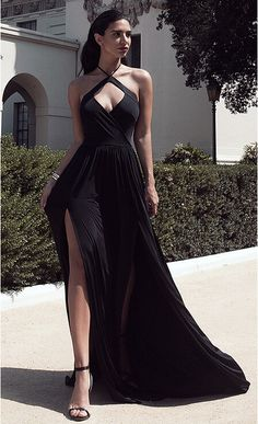 1ffdeee52f0 2018 Sexy Halter Neck Black Prom Dresses Ruched Side Slits Open Back White  Evening Gowns Buy High Quality Dresses from Dress Factory
